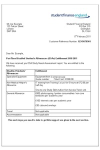student finance cover letter